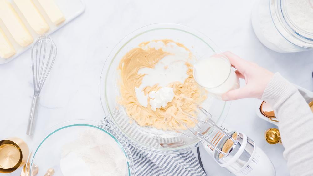 making cupcake batter